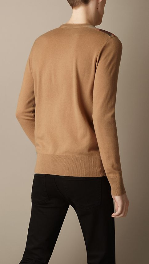 Camel Check Detail Cotton Cashmere Sweater Camel - Image 2