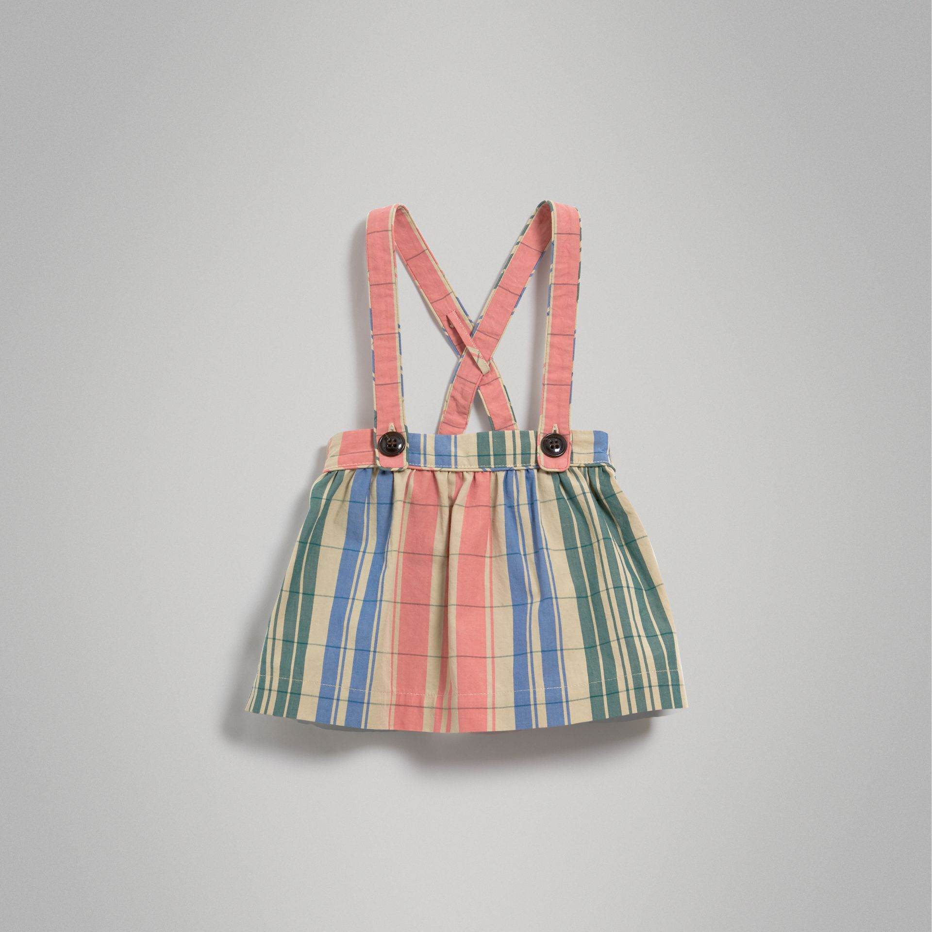 Check Gathered Cotton Pinafore Skirt in Bright Coral Pink | Burberry - gallery image 2