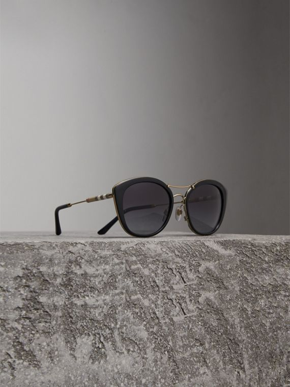 Check Detail Round Frame Sunglasses in Black - Women | Burberry Singapore