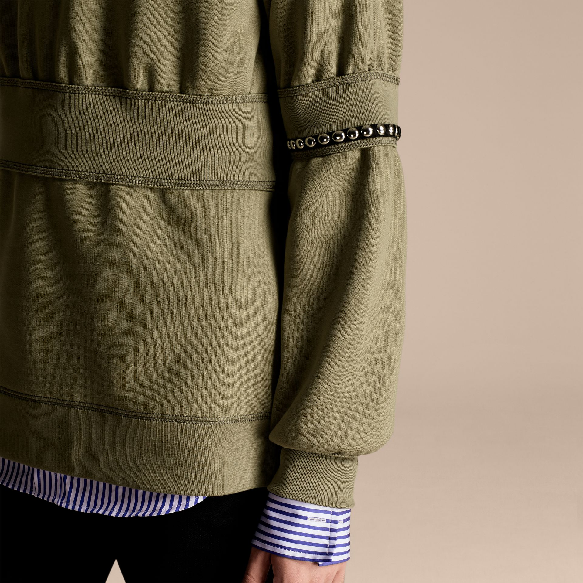 Khaki Puff-sleeved Cotton Blend Jersey Sweatshirt - gallery image 5