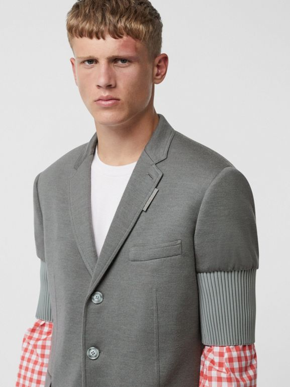 Slim Fit Panelled-sleeve Cashmere Silk Jersey Blazer in Cloud Grey | Burberry - cell image 1