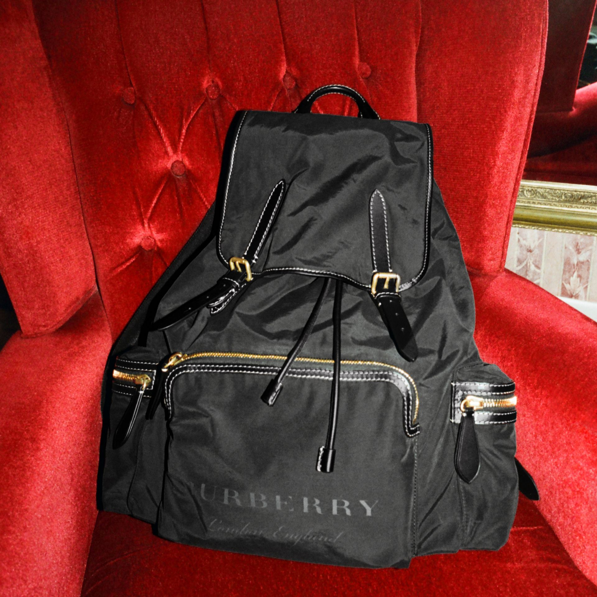 The Large Rucksack in Cotton Canvas in Black - Men | Burberry United Kingdom - gallery image 7