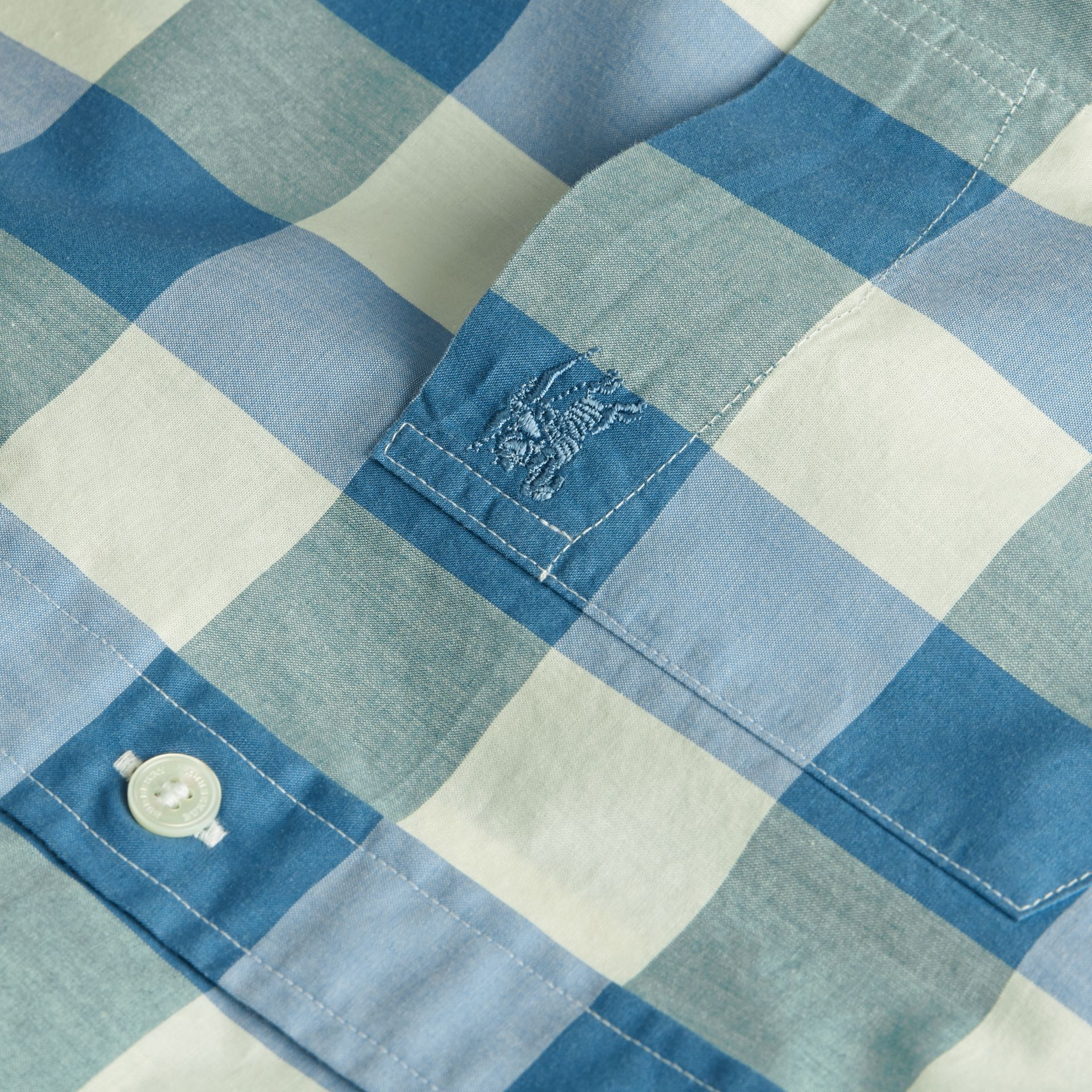 Blu ortensia intenso Camicia vichy in cotone con colletto button-down Blu Ortensia Intenso - immagine della galleria 2