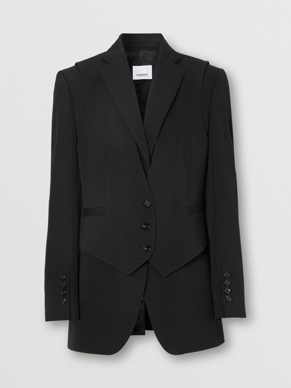 Waistcoat Detail Wool Tailored Jacket in Black - Women | Burberry - cell image 3