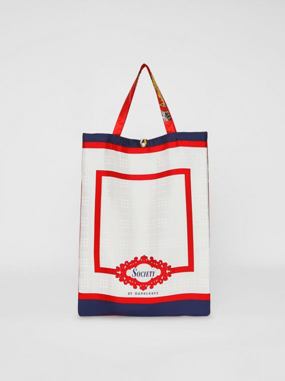 Archive Scarf Print Silk Tote in Bright Red/navy