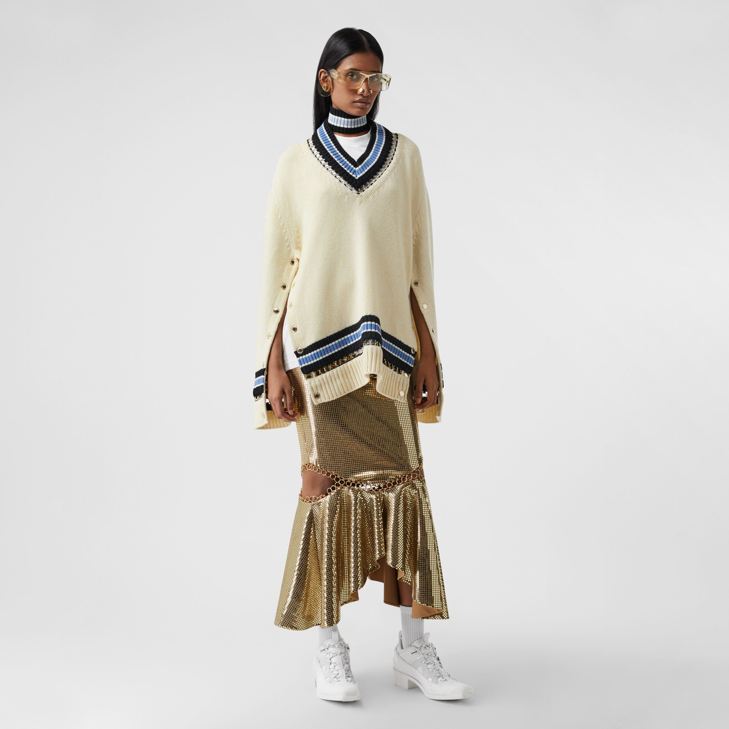 Ring-pierced Mirrored Jersey Skirt in Dark Biscuit - Women | Burberry - 1