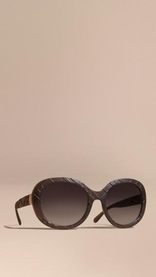3D Check Round Frame Sunglasses