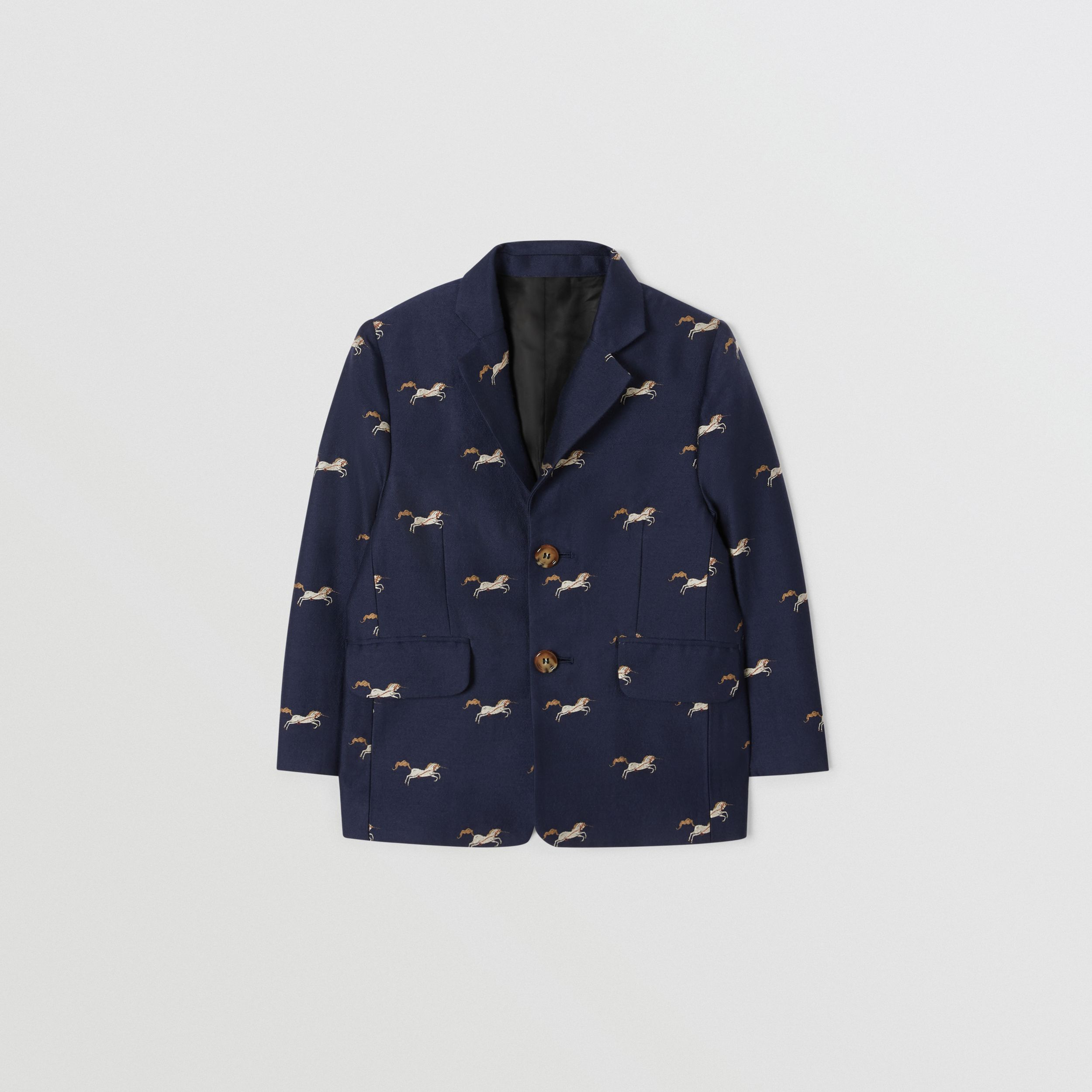 Unicorn Wool Silk Jacquard Blazer in Navy | Burberry - 1