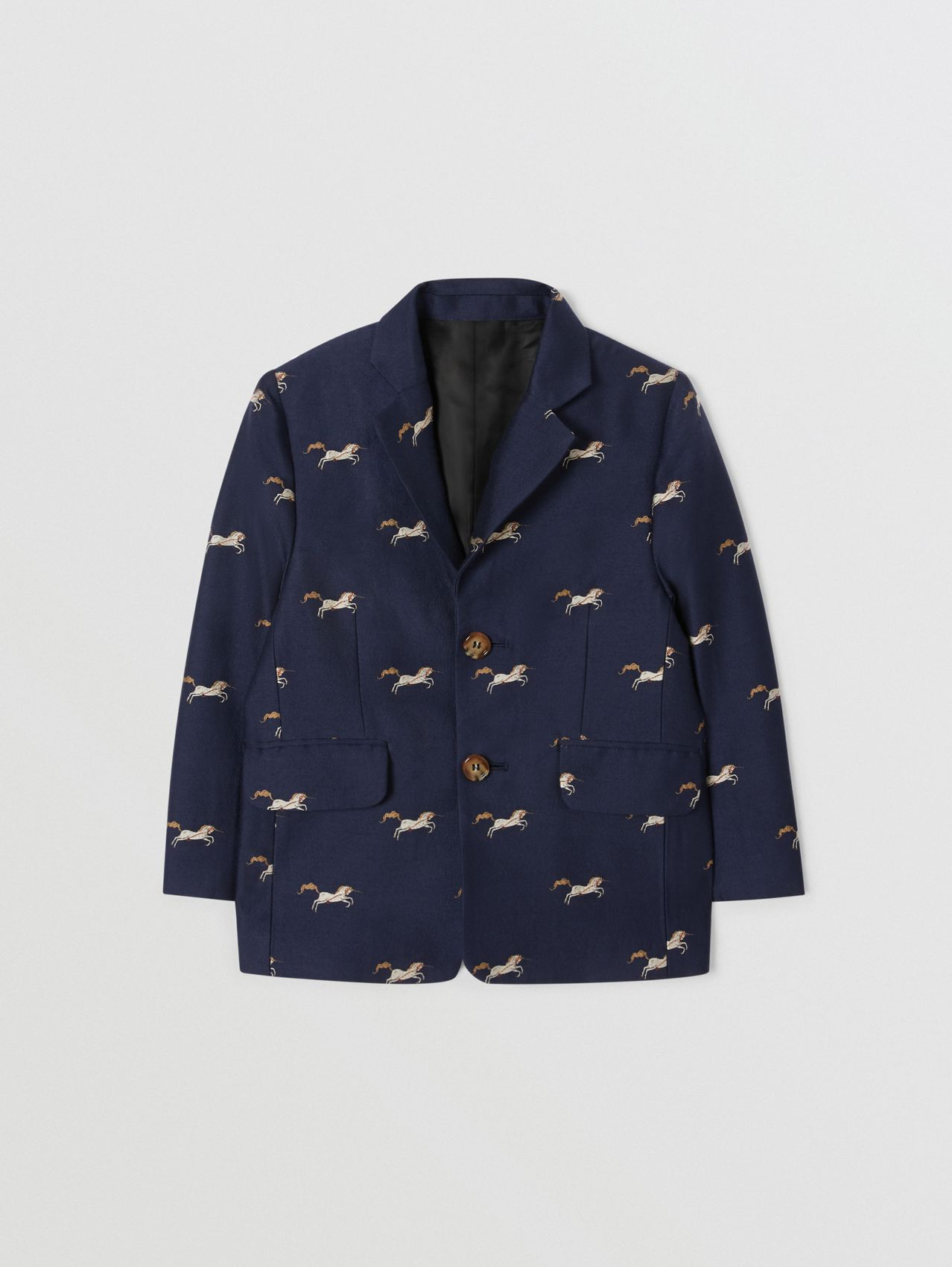 Unicorn Wool Silk Jacquard Blazer in Navy
