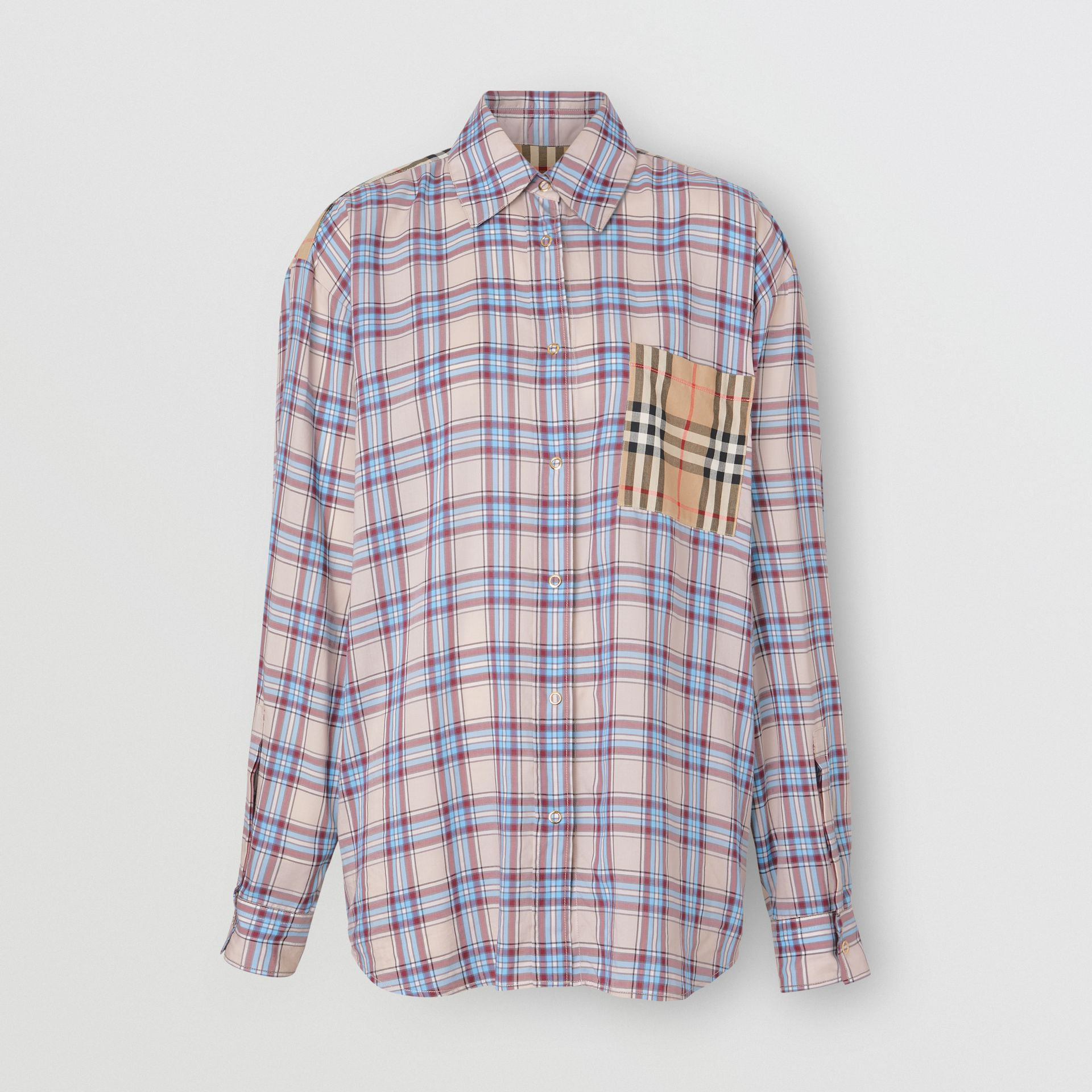 Vintage Check Panel Check Voile Shirt in Pale Blue - Women | Burberry - gallery image 3