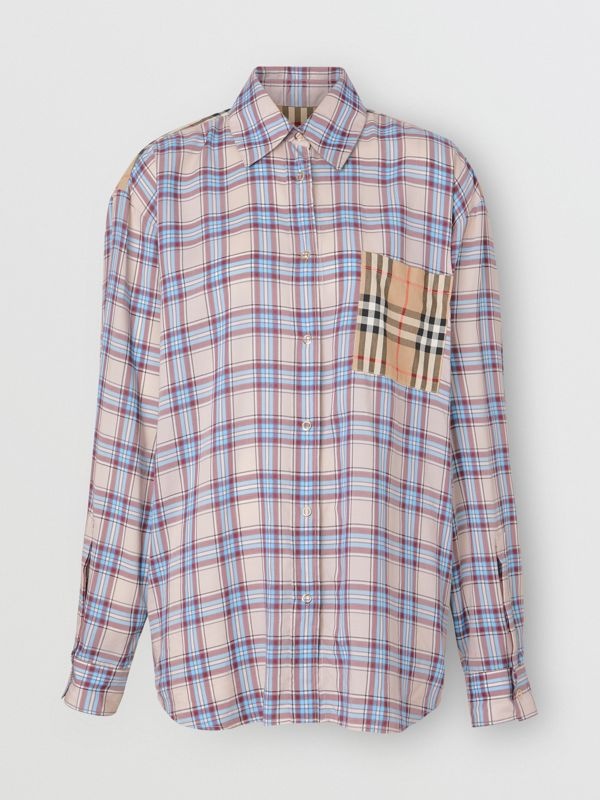 Vintage Check Panel Check Voile Shirt in Pale Blue - Women | Burberry - cell image 3