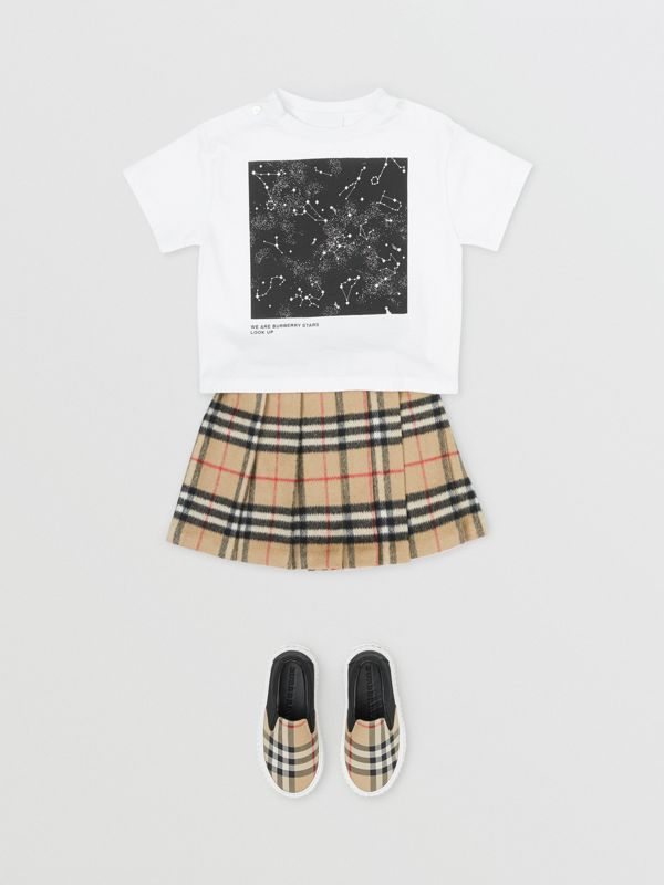 Star Print Cotton T-shirt in White - Children | Burberry United States - cell image 2