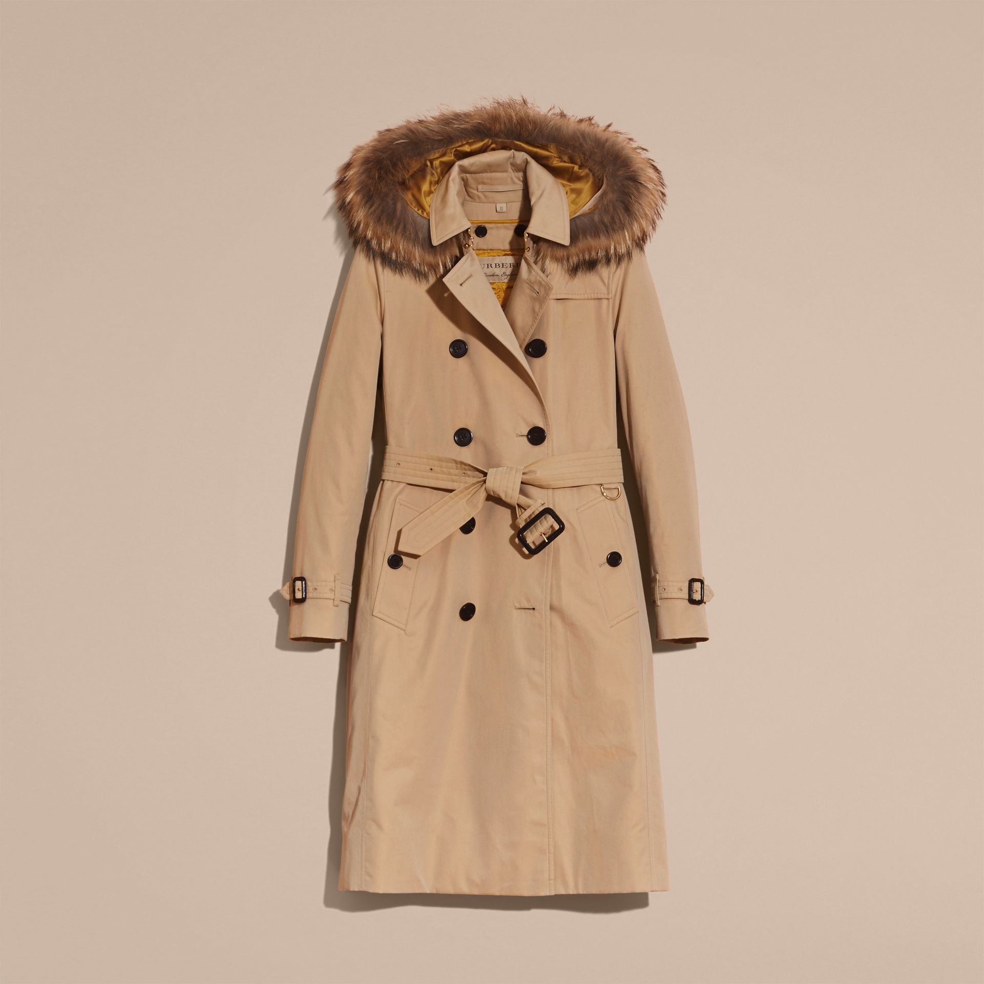 Honey Fur-trimmed Hood Trench Coat with Detachable Warmer Honey - gallery image 4