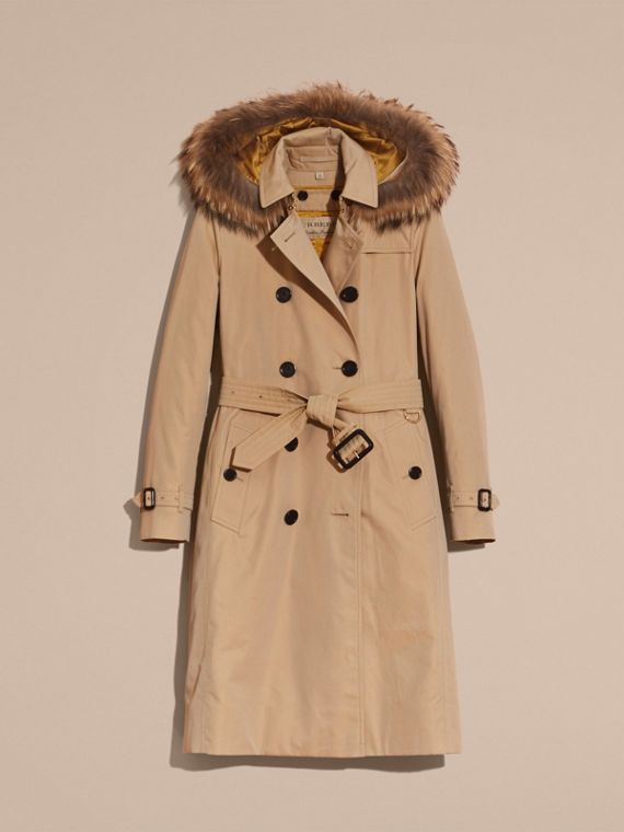 Fur-trimmed Hood Trench Coat with Detachable Warmer in Honey - cell image 3