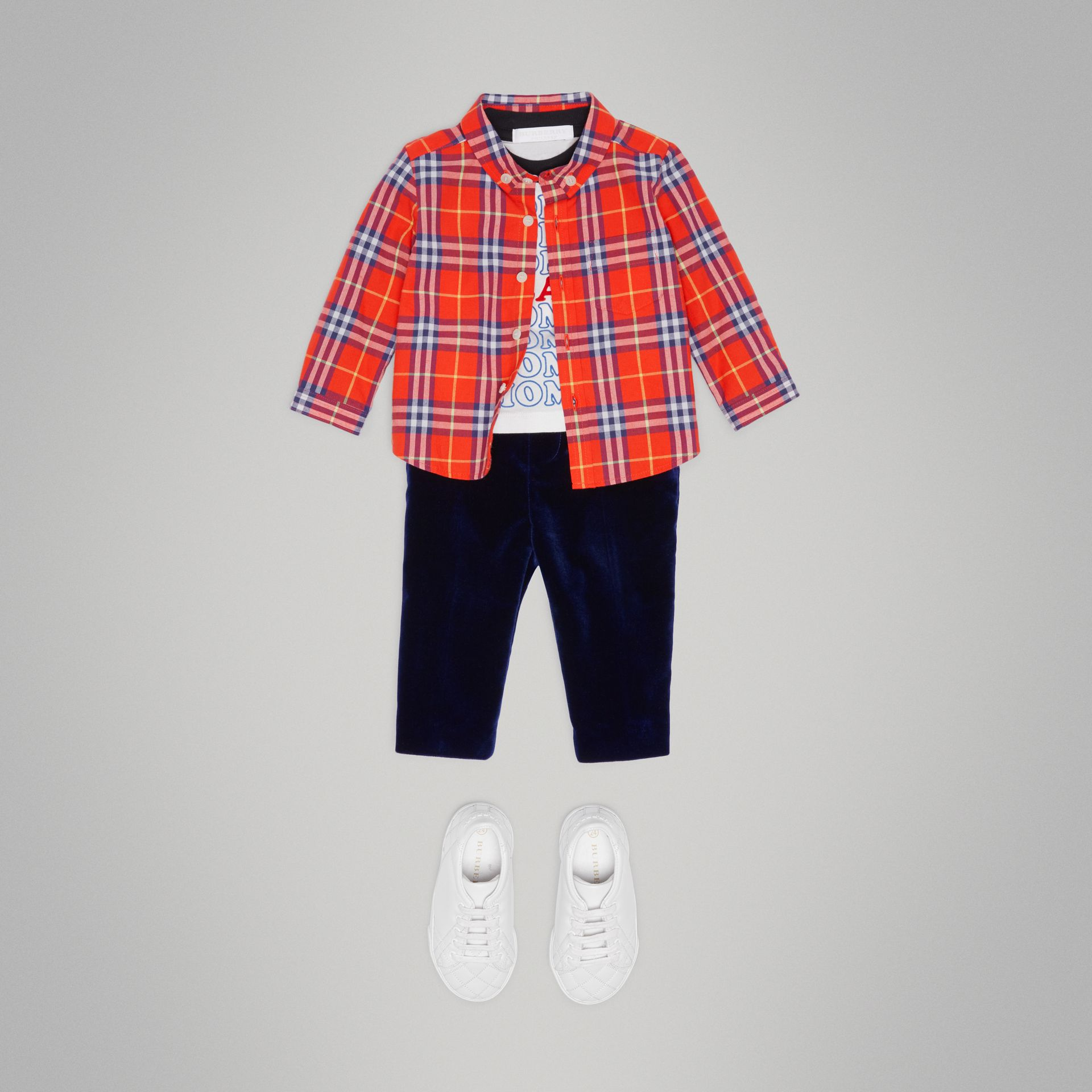 Button-down Collar Check Cotton Shirt in Orange Red - Children | Burberry Singapore - gallery image 2