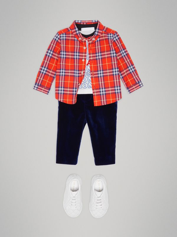 Button-down Collar Check Cotton Shirt in Orange Red - Children | Burberry - cell image 2