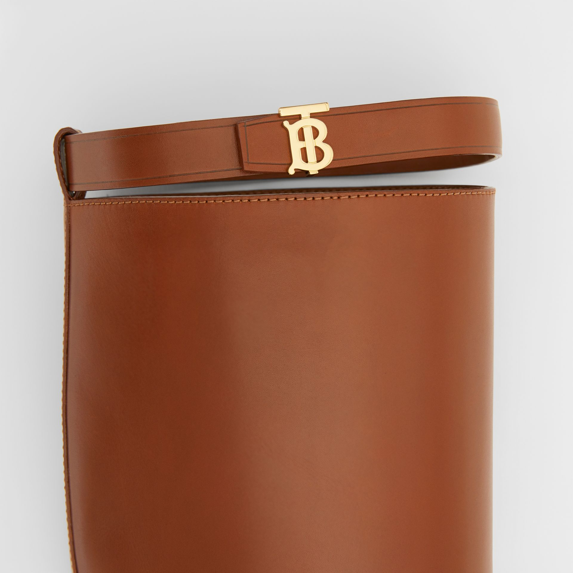 Monogram Motif Leather Knee-high Boots in Tan - Women | Burberry United Kingdom - gallery image 1