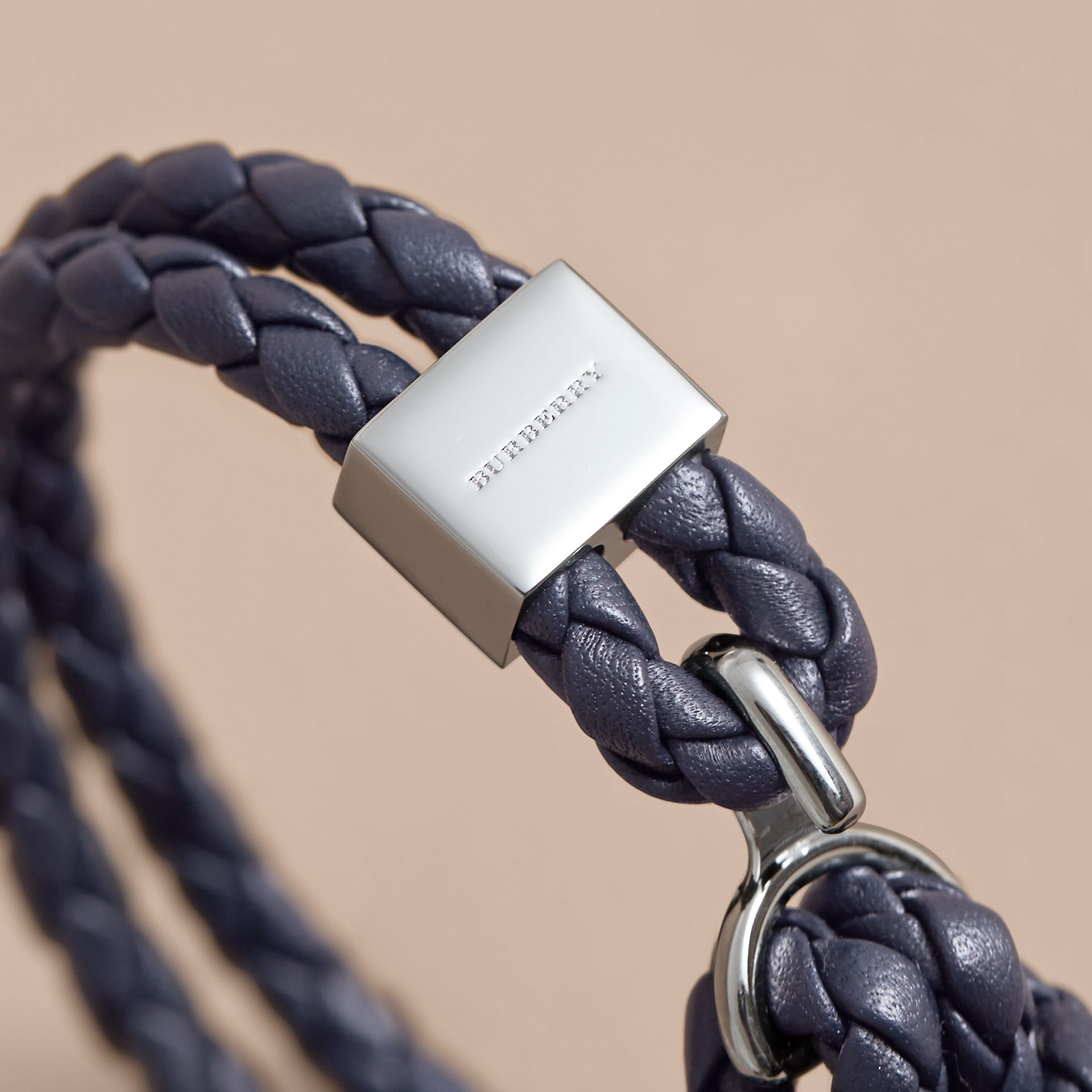 Braided Leather Bracelet Navy - gallery image 2