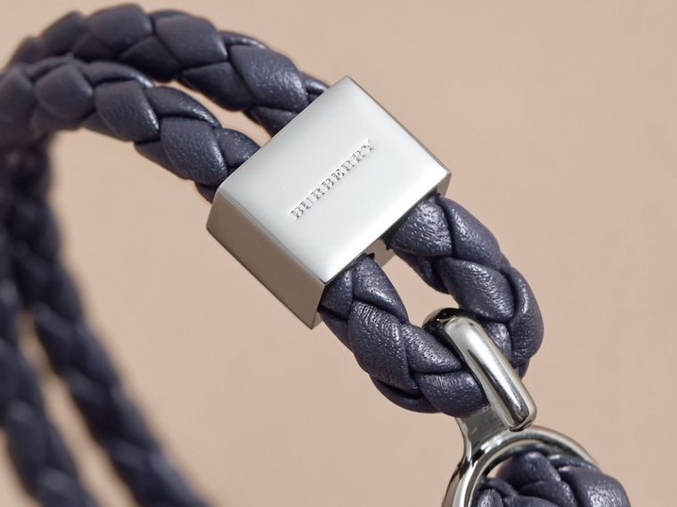 Braided Leather Bracelet Navy - cell image 1
