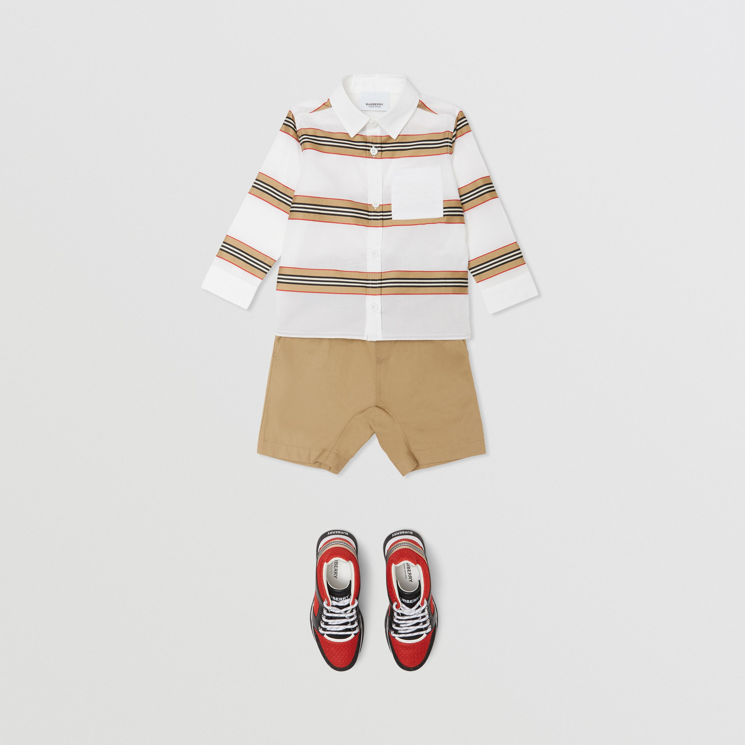 Embroidered Logo Icon Stripe Cotton Shirt in White - Children | Burberry - 3