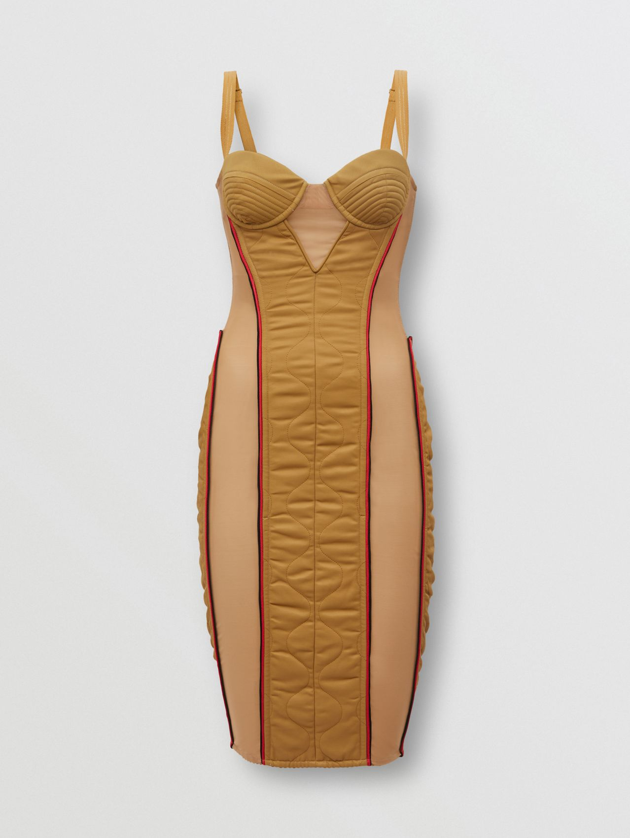 Quilted Technical Cotton Corset Dress in Camel