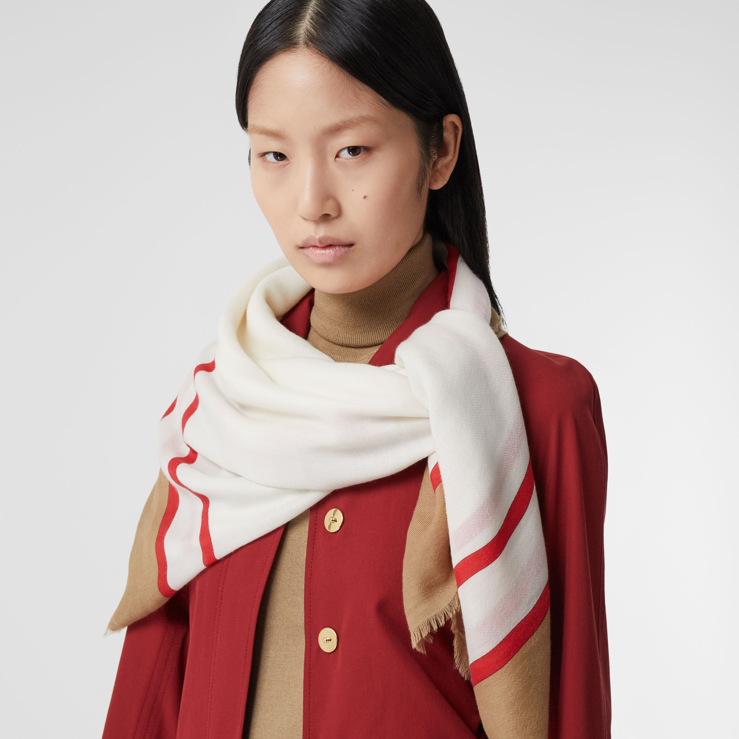 Archive Scarf Print Lightweight Cashmere Scarf in Honey | Burberry - 3