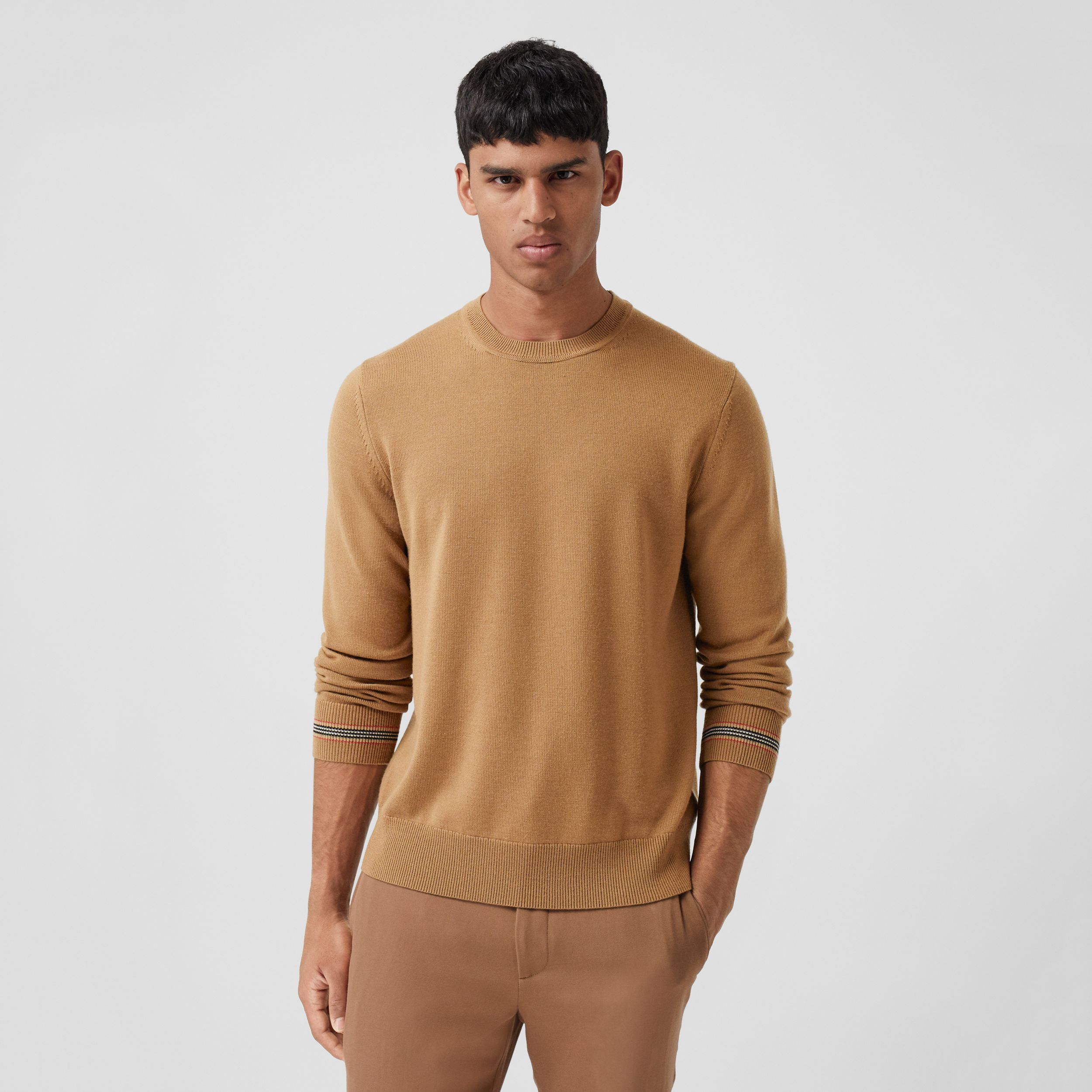 Icon Stripe Trim Merino Wool Sweater in Camel - Men | Burberry - 1