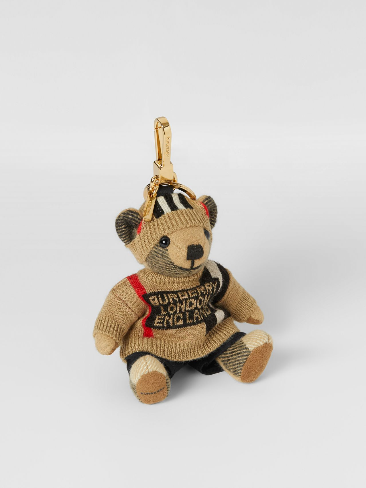 Thomas Bear Charm in Icon Stripe Sweater and Beanie in Multicolour