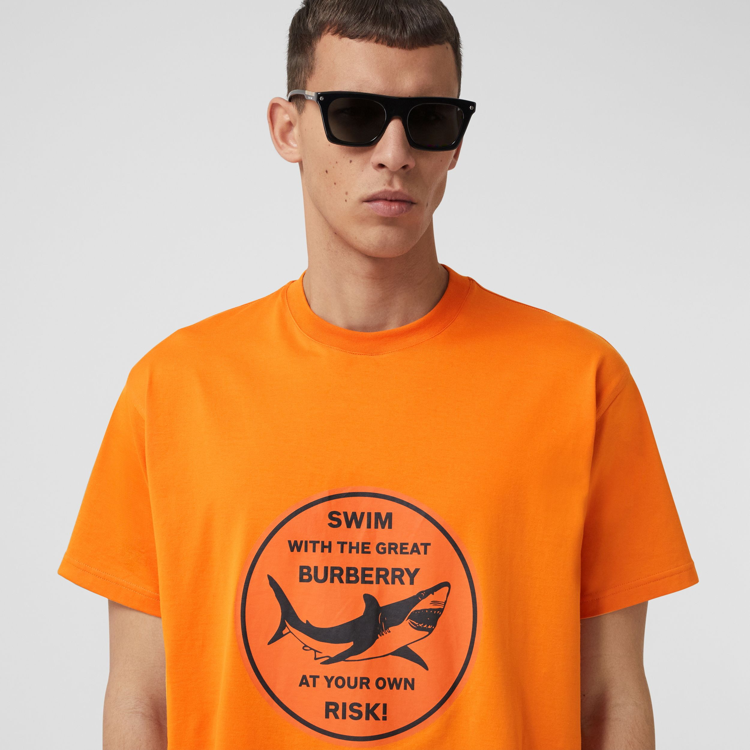 Shark Graphic Cotton Oversized T-shirt in Deep Orange - Men | Burberry United States - 2