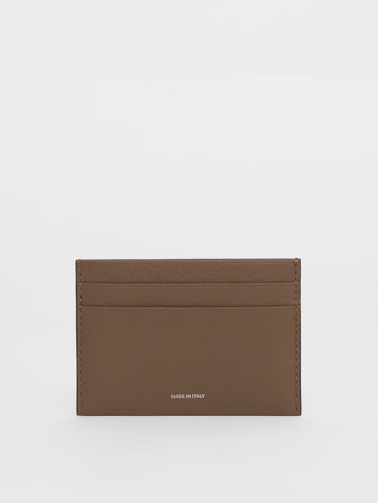 Grainy Leather Card Case in Light Acorn