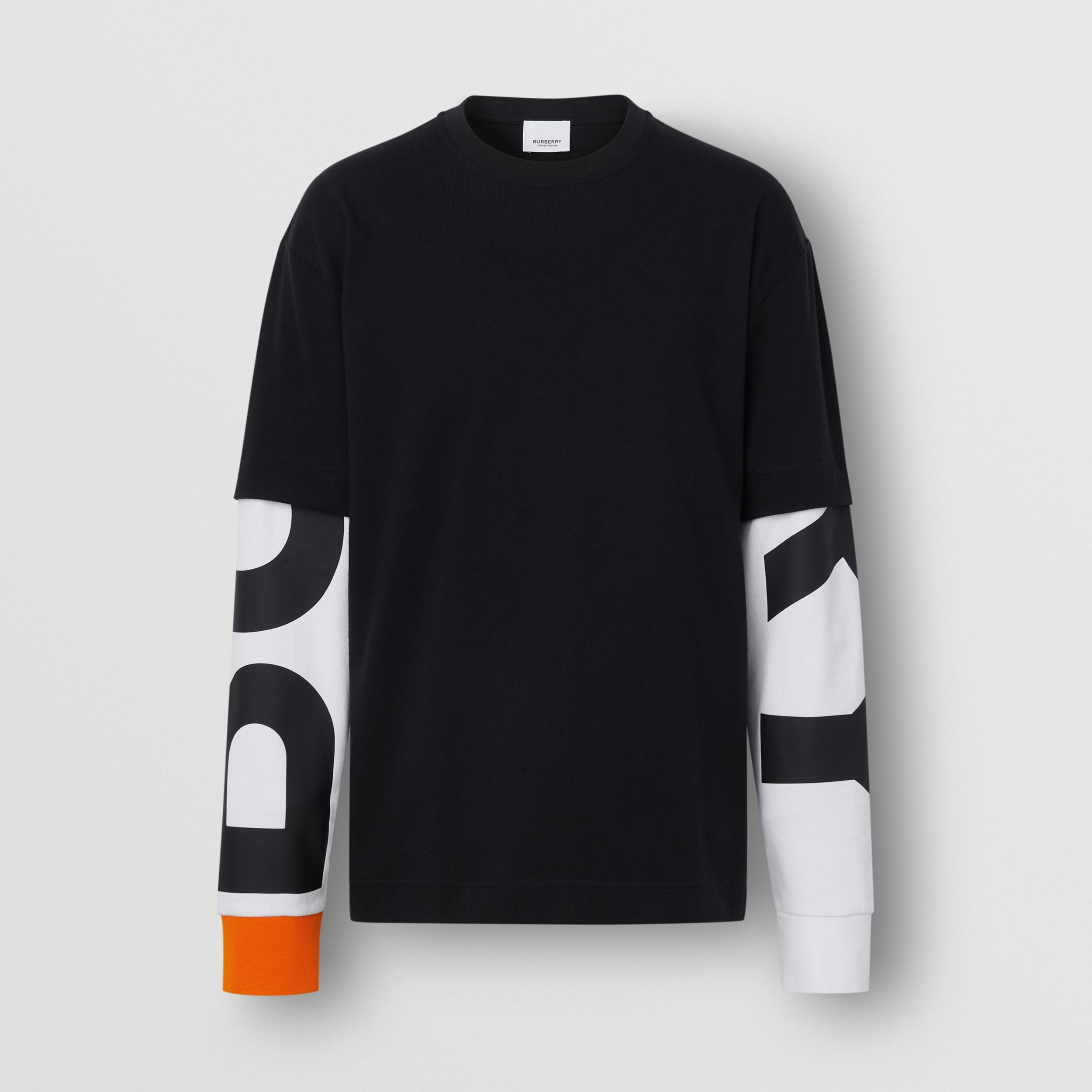 Logo Print Sleeve Cotton T-shirt in Black - Men | Burberry Canada - 4
