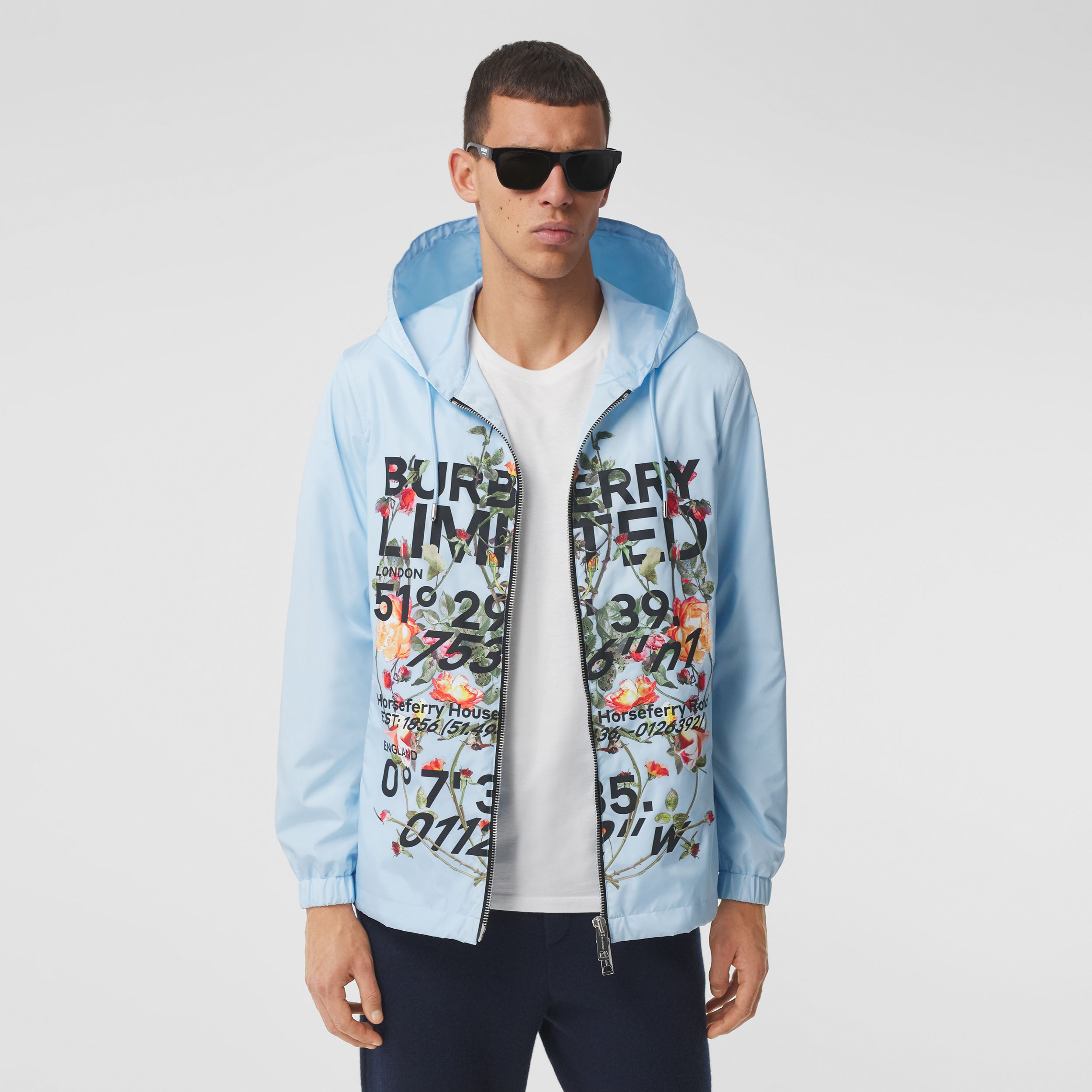 Montage Print ECONYL® Hooded Jacket in Pale Blue - Men | Burberry - 4