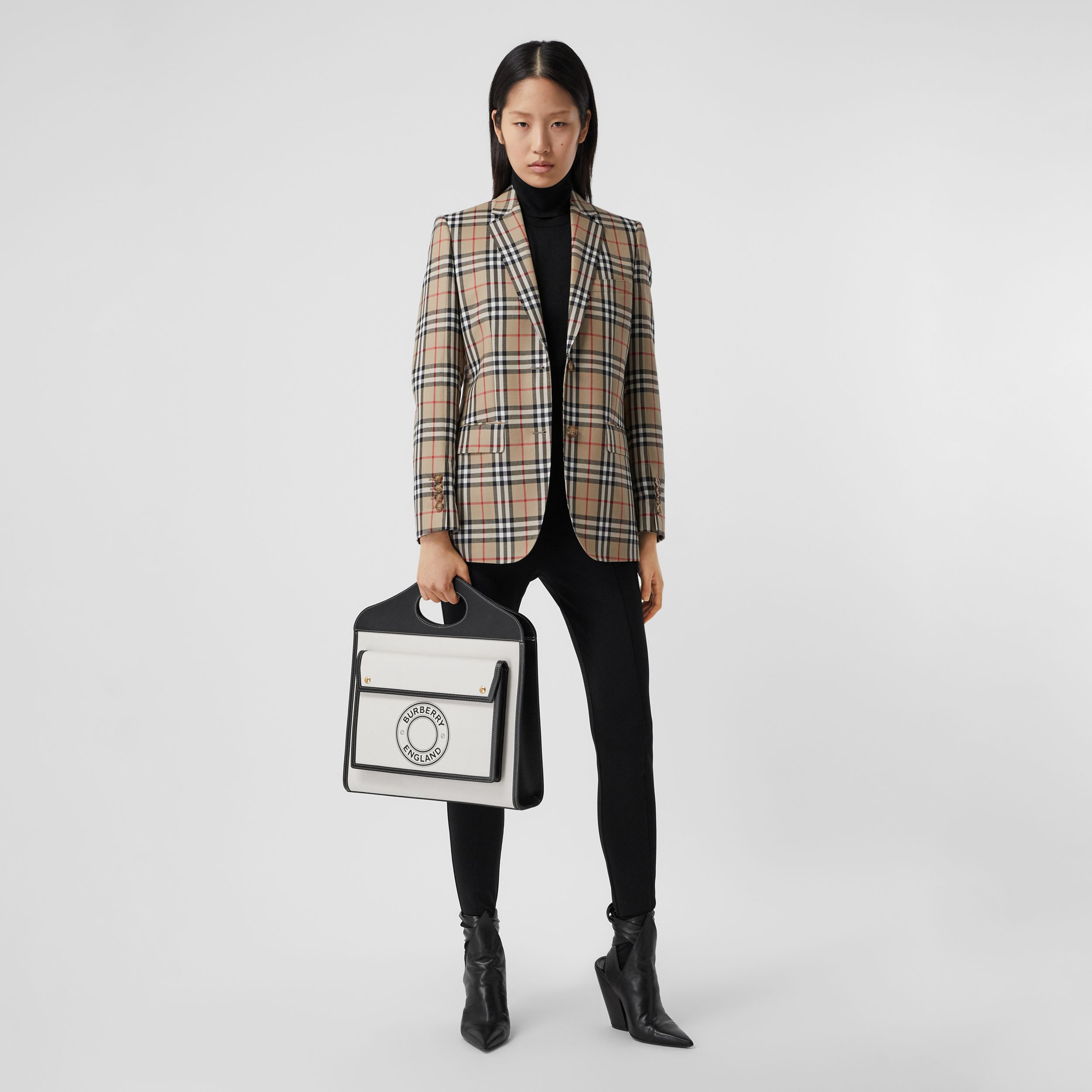 Vintage Check Wool Tailored Jacket in Archive Beige - Women | Burberry - 1