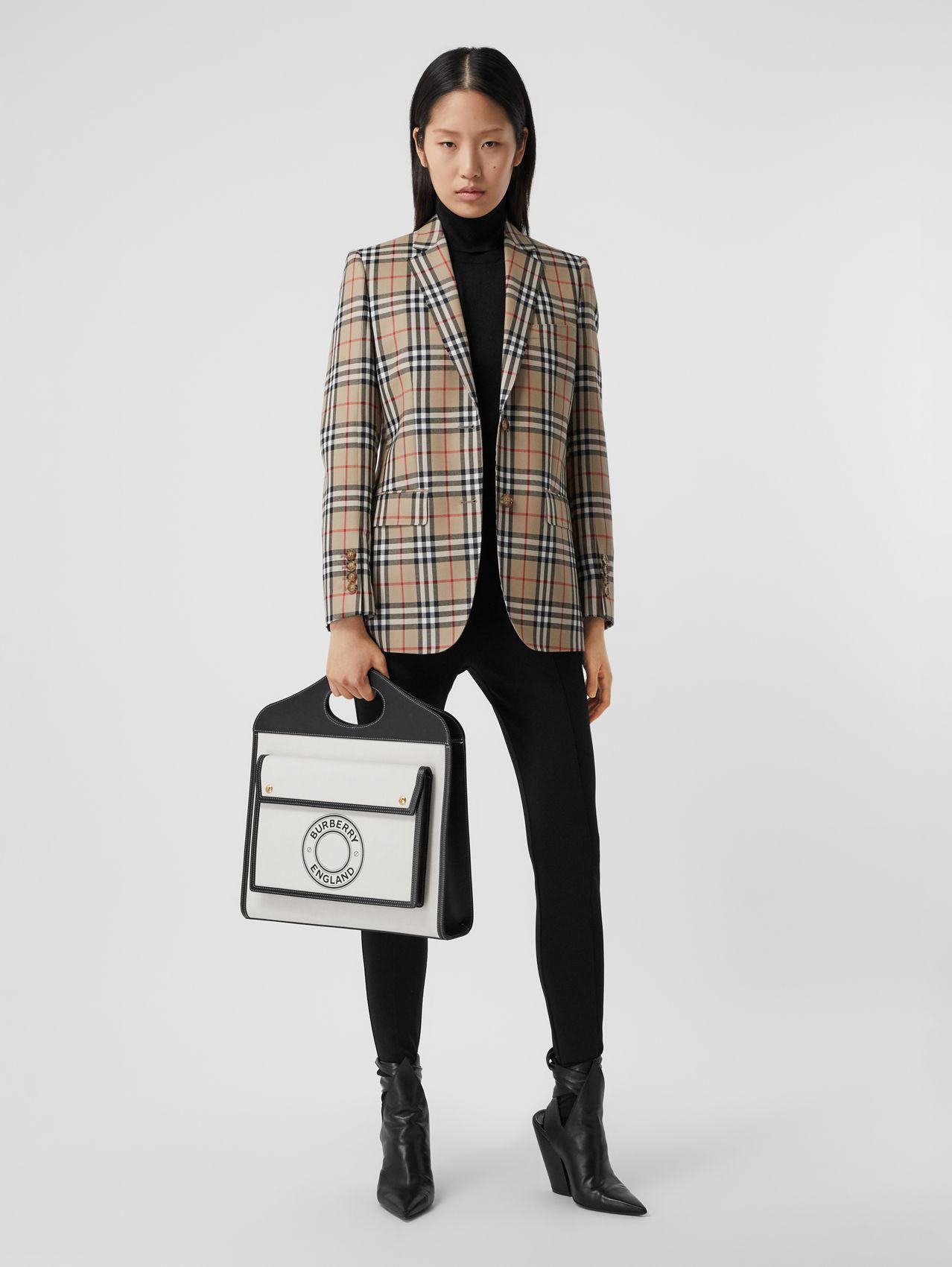 Vintage Check Wool Tailored Jacket in Archive Beige