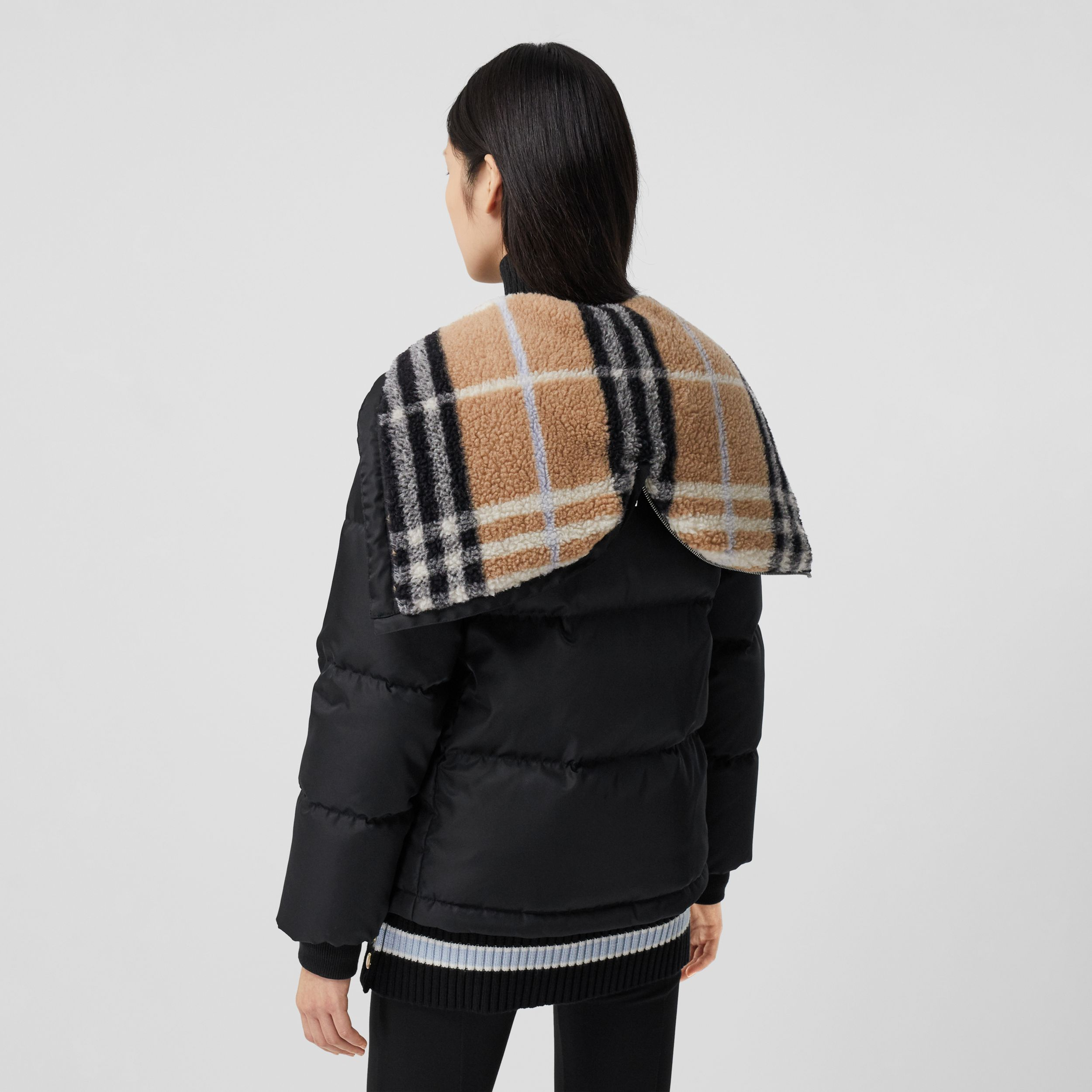 Check Fleece-lined Hood ECONYL® Puffer Jacket in Black - Women | Burberry - 3