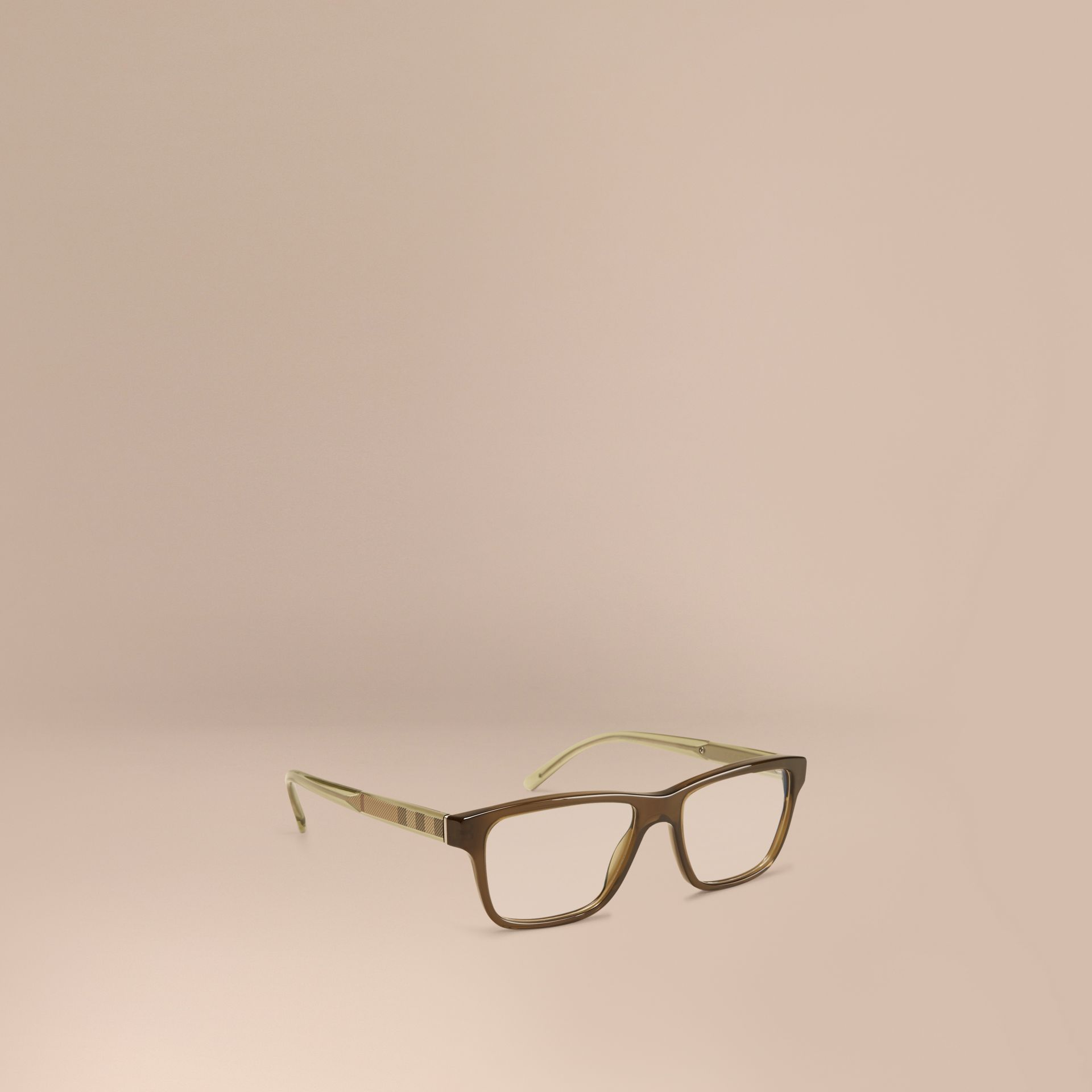 Olive Check Detail Rectangular Optical Frames Olive - gallery image 1