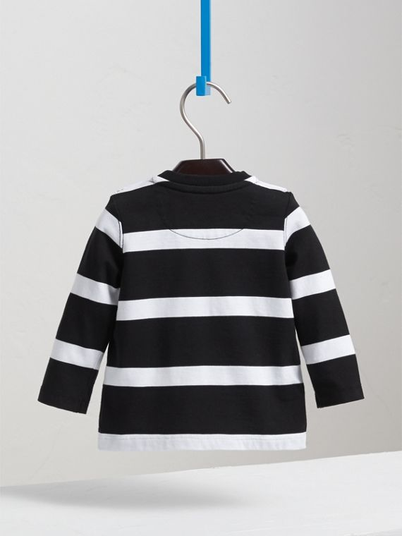 Long-sleeve Striped Cotton Top in Black/white | Burberry Australia - cell image 3