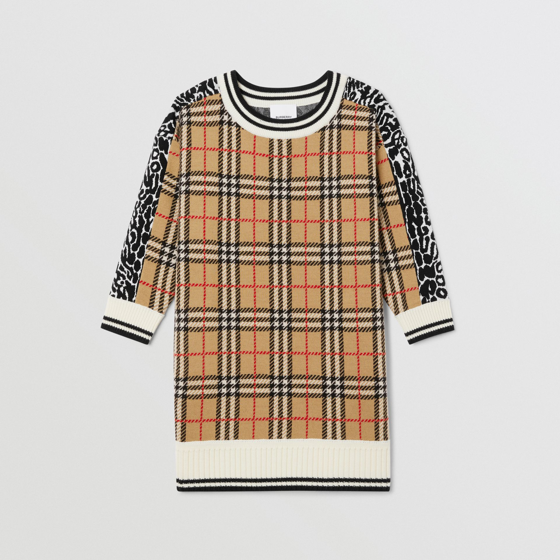 Check and Leopard Merino Wool Sweater Dress in Print | Burberry United Kingdom - gallery image 0