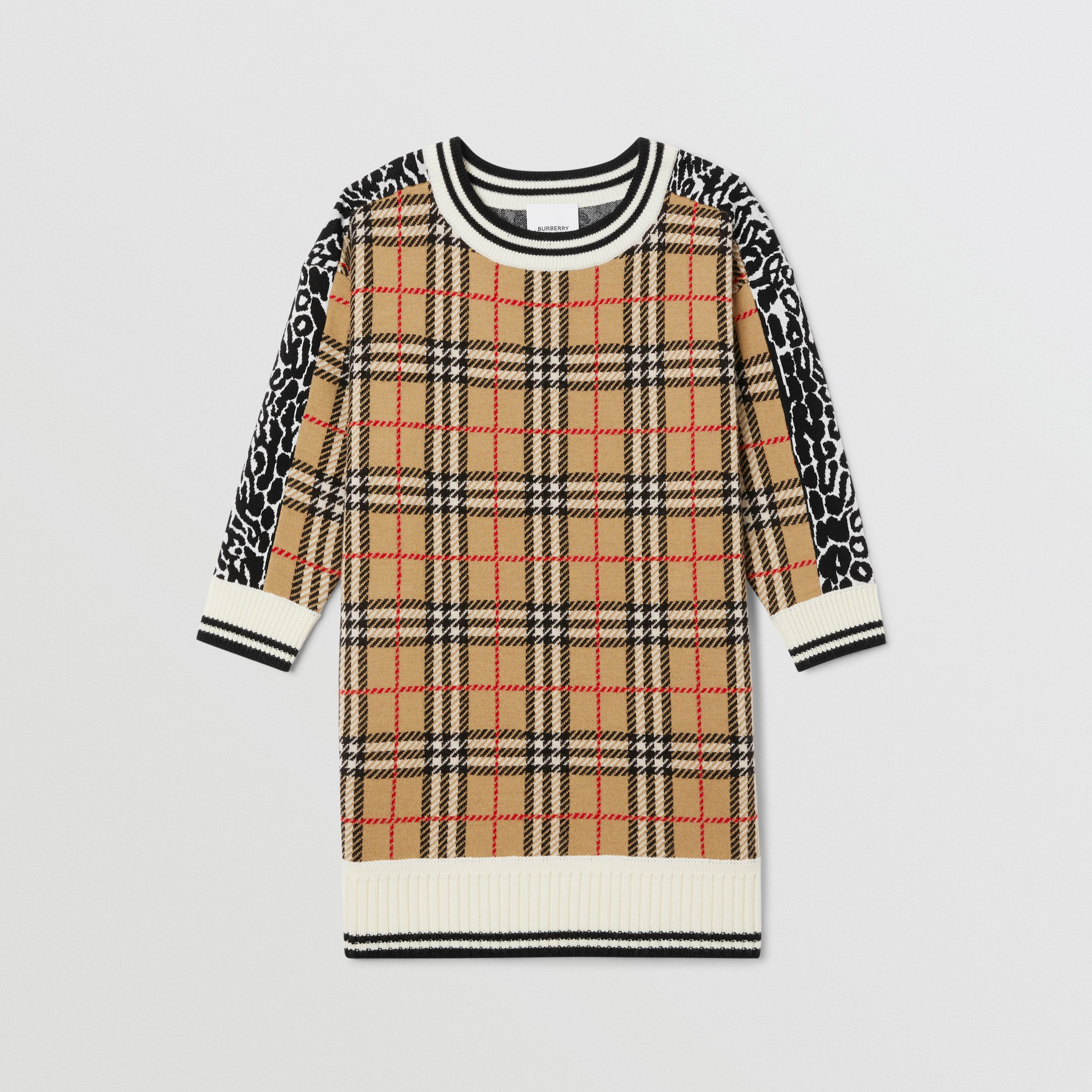 Check and Leopard Merino Wool Sweater Dress in Print | Burberry - 1