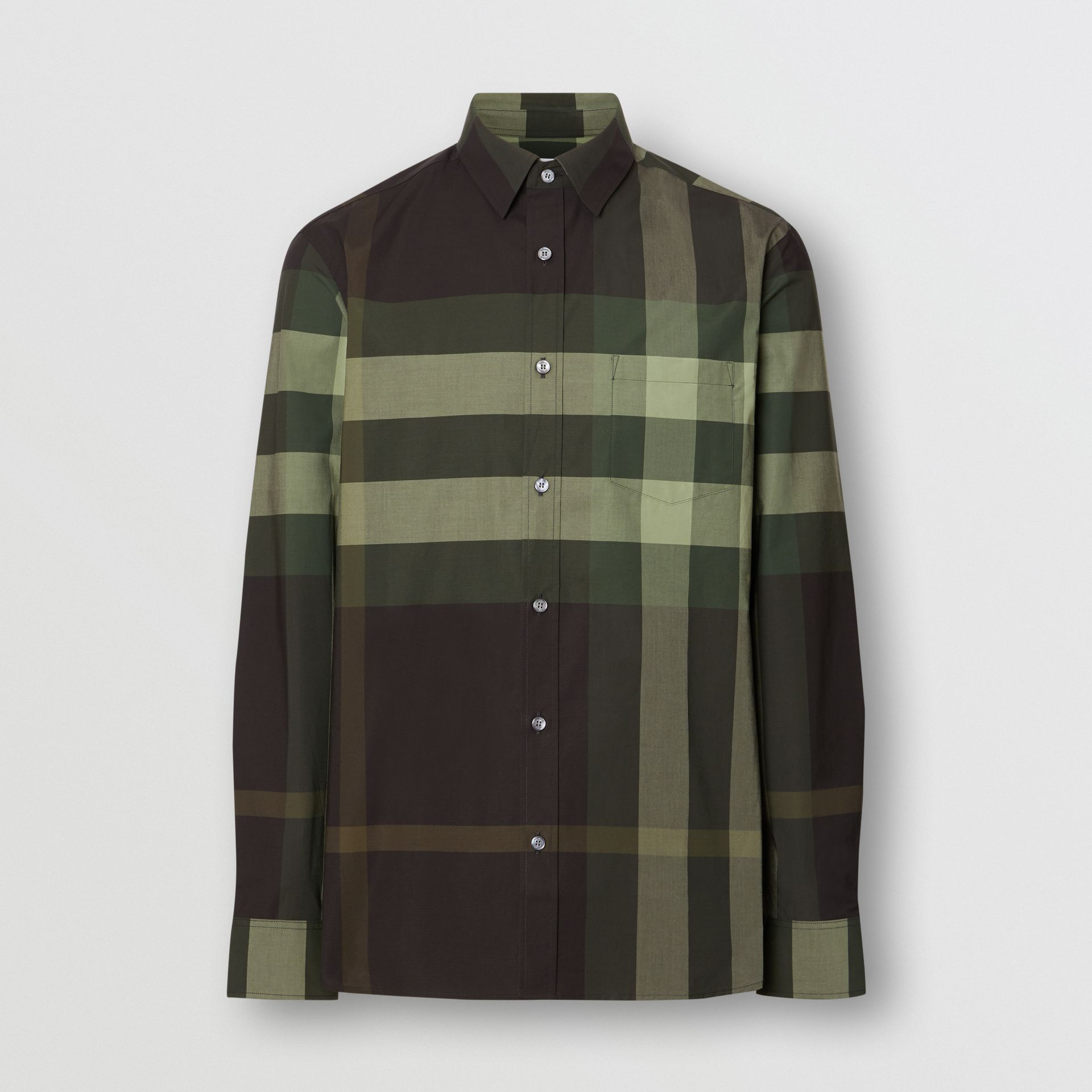 Check Stretch Cotton Shirt in Dark Forest Green - Men | Burberry - gallery image 3