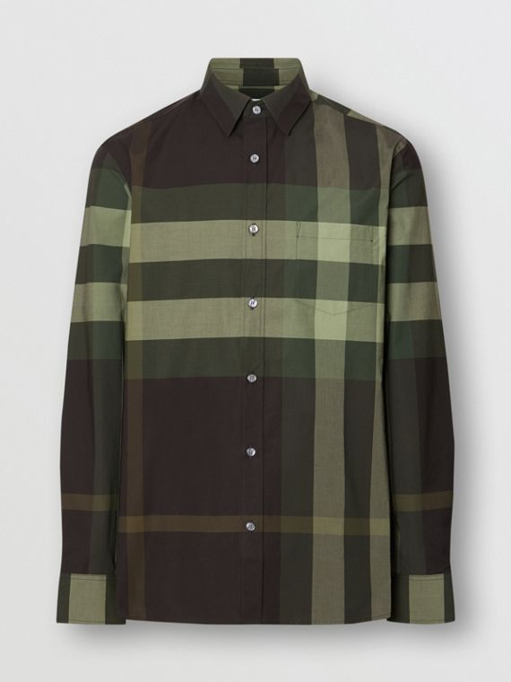 Check Stretch Cotton Shirt in Dark Forest Green