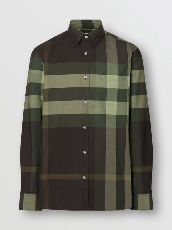 Check Stretch Cotton Shirt in Dark Forest Green - Men | Burberry - cell image 3