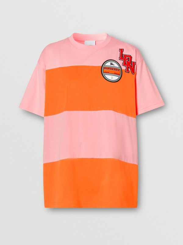 Logo Graphic Panelled Cotton Oversized T-shirt in Candy Pink - Women | Burberry Australia - cell image 3