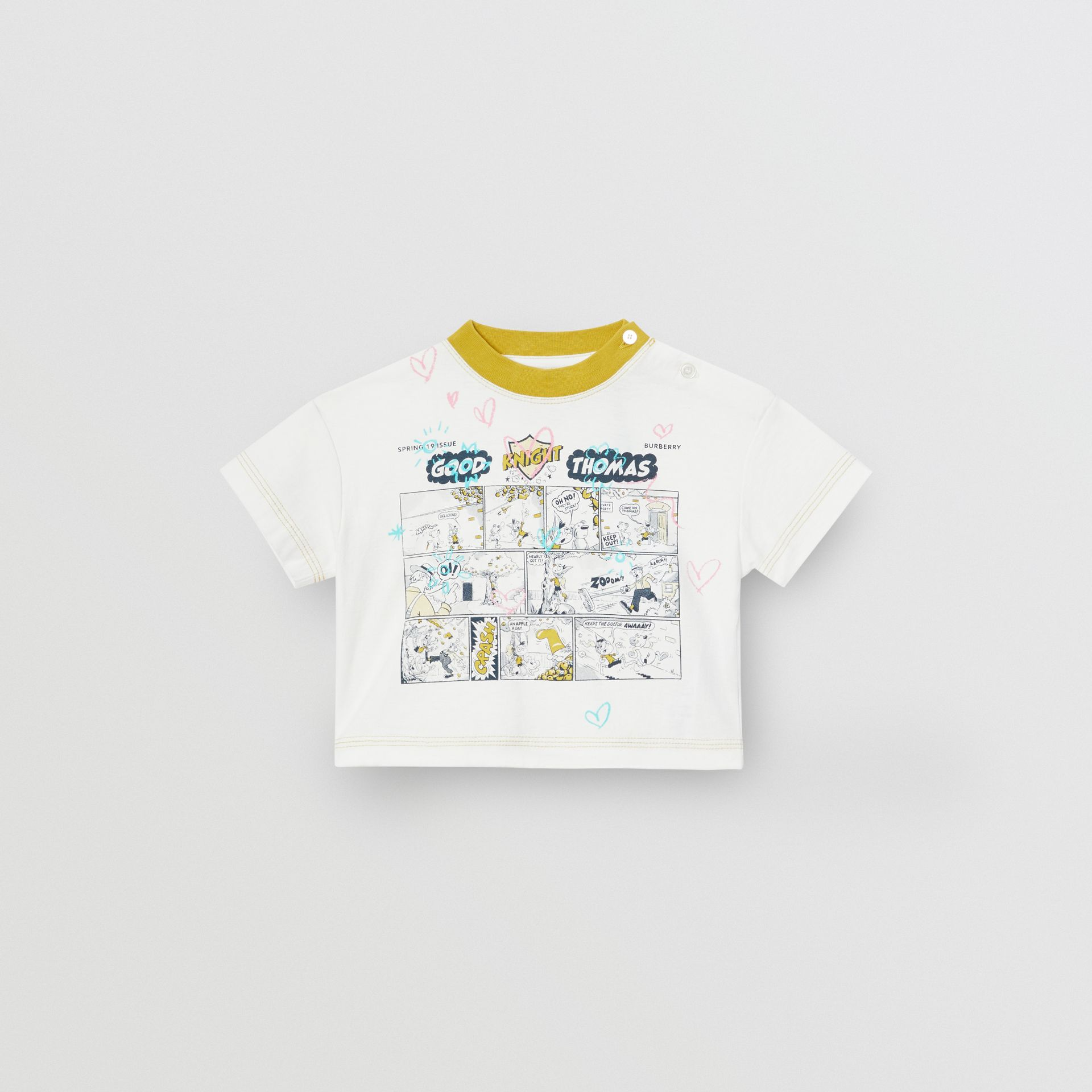 Comic Strip Print Cotton T-Shirt in Light Stone - Children | Burberry United Kingdom - gallery image 0