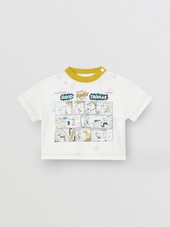 Comic Strip Print Cotton T-Shirt in Light Stone