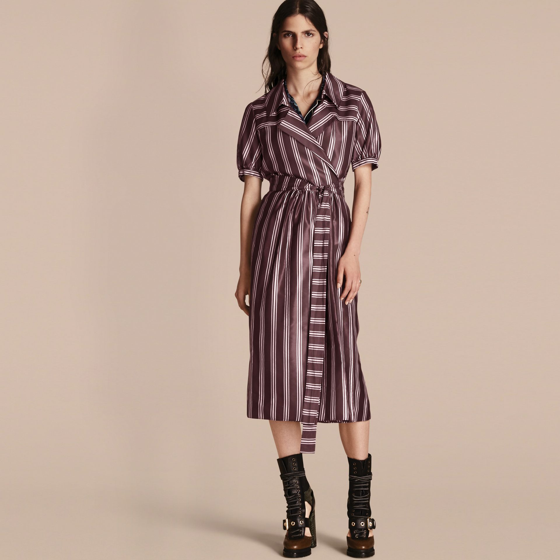 Crimson Panama Stripe Cotton Silk Fixed Wrap Dress - gallery image 1