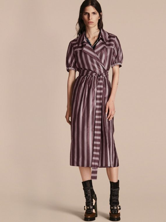Panama Stripe Cotton Silk Fixed Wrap Dress