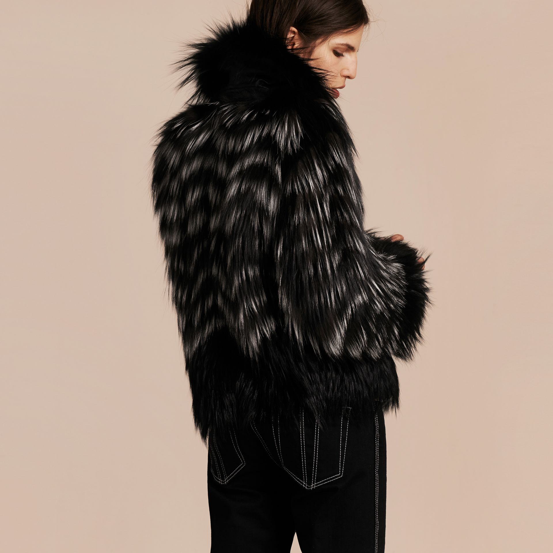Black/white Chevron Stripe Fox Fur Jacket - gallery image 3