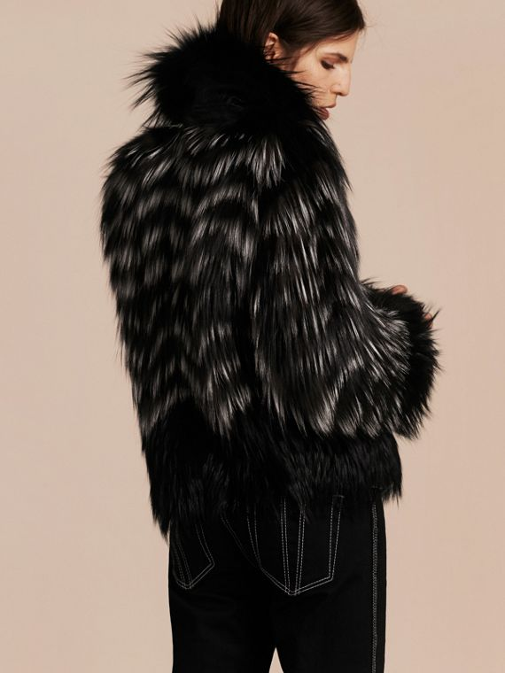 Black/white Chevron Stripe Fox Fur Jacket - cell image 2