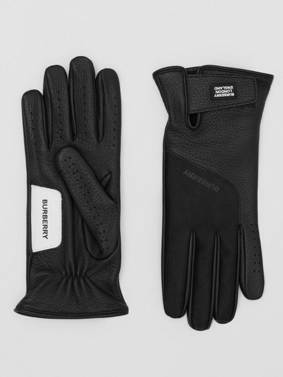 Logo Appliqué Cashmere-lined Deerskin Gloves in Black